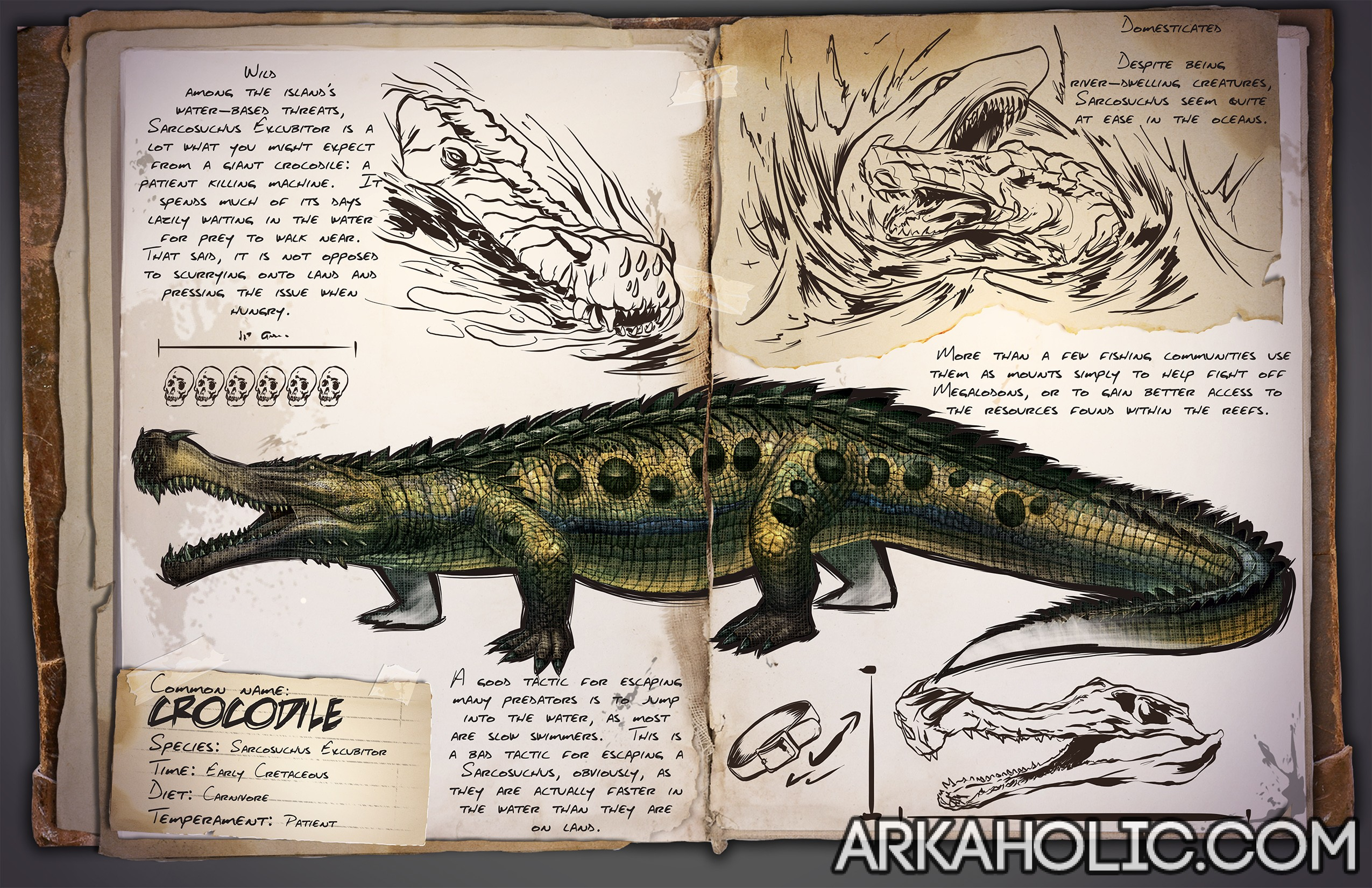 Crocodile (Sarco) Dino Dossier & Guide - ARK Survival Evolved